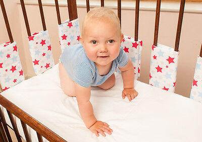 Hippychick - BLUE & RED STARS Bumpsters Cot Bar Bumpers (10 Large )