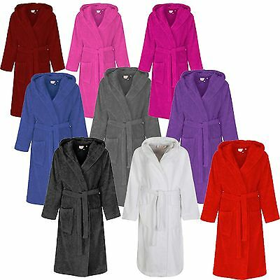 Ladies Mens Womens 100% Cotton Hooded Terry Towelling Dressing Gown Bath Robe