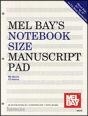 Mel Bay's Notebook Size Manuscript Pad Music Staff Stave Paper