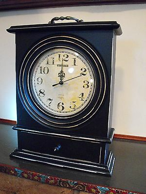 Shabby Chic Black Mantel Clock Large Black Vintage Carriage Clock With Drawer