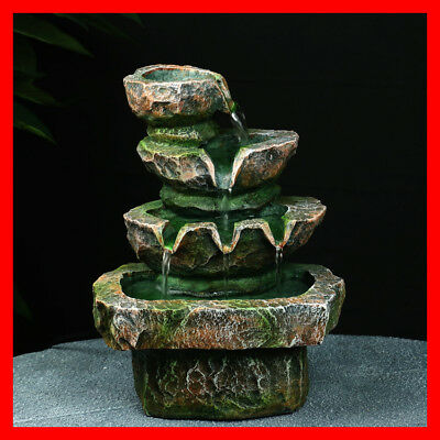 Indoor Polyresin Water Fountain Feature LED Tabletop Home Decor WF0156