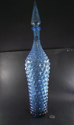 """Large 20"""" Blue Diamond Point Glass Bottle With Matching Stopper"""