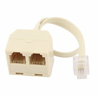 RJ11 6P4C 2 Way Outlet Telephone Jack Line Splitter Adapter Beige FK