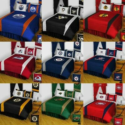2fd6d5eb4 NHL HOCKEY LOGO BEDDING SET - Sports Team Bed Comforter Sheets Pillowcase