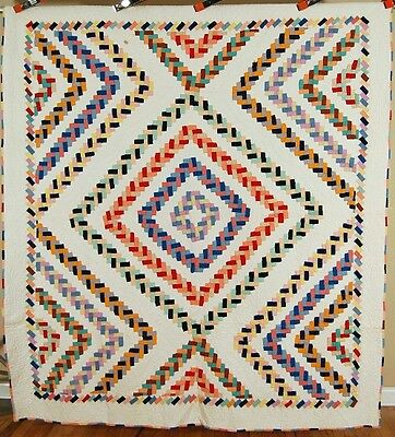 MAGNIFICENT Vintage 30's Log Cabin Antique Quilt ~BRAIDED RUG DESIGN & SM. PCS.!