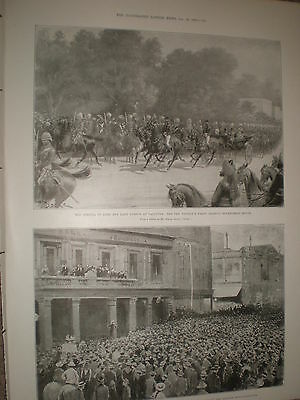 Arrival of Lord and Lady Curzon at Calcutta India 1899 old print