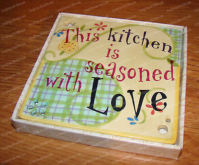 "Kitchen Seasoned with Love 6"" Wall Trivet (Kitchen Inspirations, 53108) Ceramic"