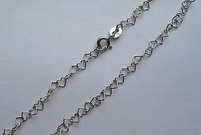 "10"" 9ct white gold heart shaped anklet chain 1.8g Hallmarked"