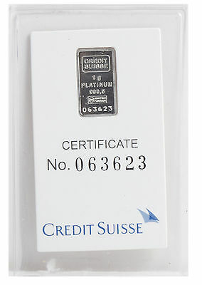 1 Gram Platinum Credit Suisse Bar in Assay Card