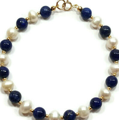 9ct Gold Bracelet with White Pearls and Lapis Lazuli Gemstone Beads 7.5 inch