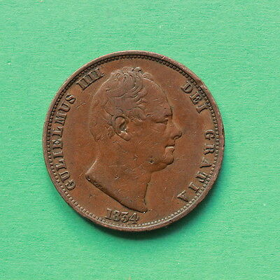 1834 - William IIII - Copper Half Penny - SNo42608