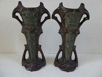 PAIR ANTIQUE ART NOUVEAU FRENCH ? BRONZE or PEWTER  VASES