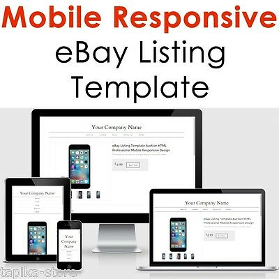 Mobile Responsive eBay Listing Template Auction Professional NO Active Content