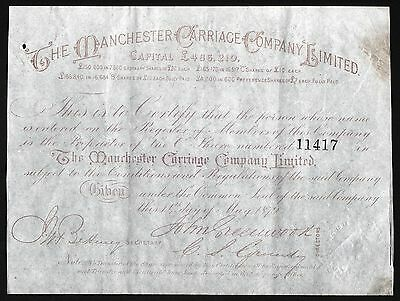 1879 England: The Manchester Carriage Company Limited