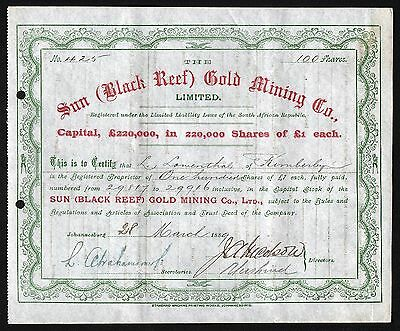 1889 Johannesburg, South Africa: The Sun (Black Reef) Gold Mining Co.