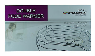 Double Food Dish Warmer Chafing Chrome Plate Burner Heat Warm + 2 Free Candle