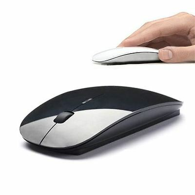 Thin Slim Optical Usb Wireless Cordless Scroll Mice Mouse Black For Pc Laptop
