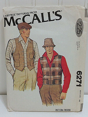 1978 MCCALL'S Vintage Sewing Pattern 6271 Mens 2-Styles Vests Caps Hats Size 44