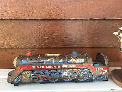 Vintage Collectable Toy Tin Locomotive Train Silver Mountain Flash Made Japan