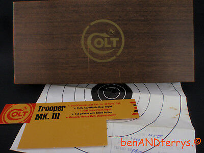 Colt Trooper MK. III Factory Issued 2-Piece Box & Test Target