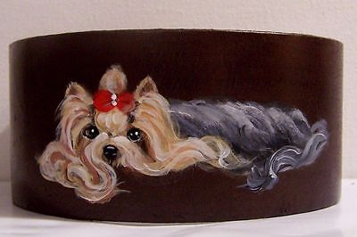hand painted Yorkie genuine leather  bracelet bendable one sz fits most
