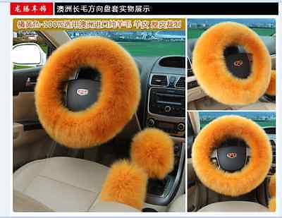 HOT 5 Colors Elastic Fluffy Woolen Auto Car Steering Wheel Cover Warm Winter New
