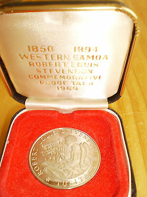 1969 Western Samoa Proof Tala, Robert Louis Stevenson Commemorative Coin