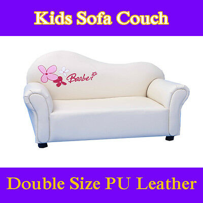 White Kids Toddlers Sofa Lounge Couch Chair Double Seat Pu Leather Timber