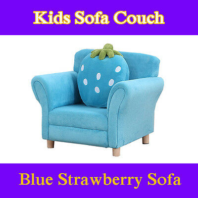 Strawberry Toddlers Sofa Lounge Couch Chair Timber Flannel Best For Kids Blue