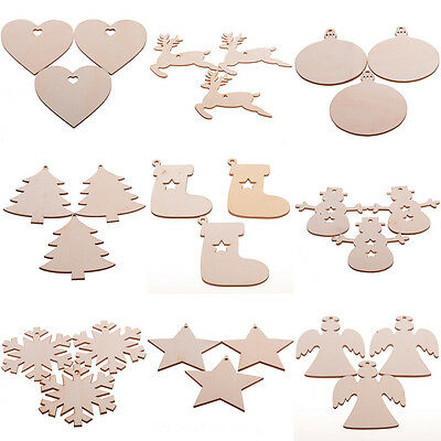 Wooden Xmas Christmas Tree Ornaments Craft Hanging Decoration Blanks Plain Tag