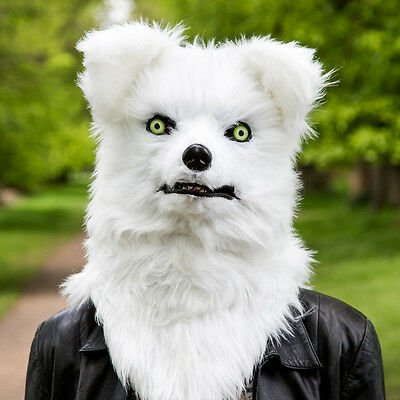 Mr Fox White Costume Mask Head with Moving Mouth novelty fancy dress Thumbs Up