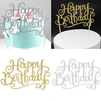 2pcs Happy Birthday Candle Party Cake Topper Supplies Decoration GOLD/SILVER SET