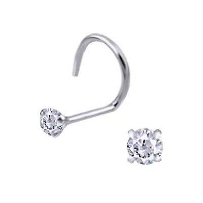 14K White Gold 22g Nose Ring Stud Screw Clear CZ Jewelry Sexy 1mm 1.5mm 2mm 3m