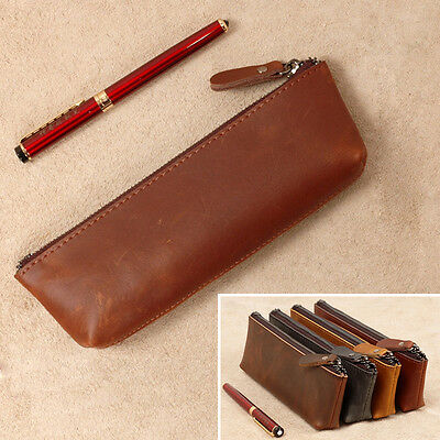 New Vintage Genuine Leather Pencils Bags Pen Case Cover Knife Tools Box