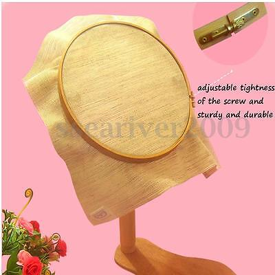 Adjustable Embroidery Hoop Lap Frame Stand Wooden Rings Cross Stitch Sewing DIY