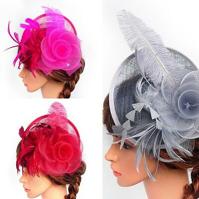 Vintage Women Fascinator Hat Headpiece Feather Cocktail Wedding Party Headband
