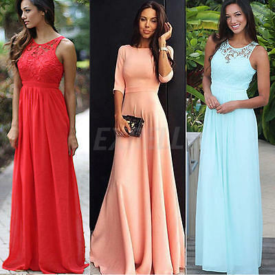 Womens Formal Lace Long Dresses Prom Evening Party Cocktail Bridesmaid Wedding