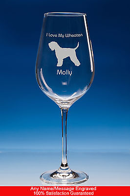 Wheaten Terrier Dog Gift Personalised Engraved Fine Quality Wine Glass