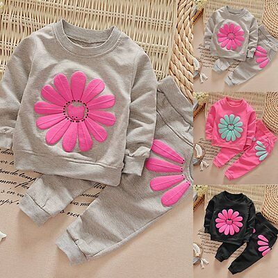 2PCS Toddler Kids Baby Girls Autumn Outfits Clothes T-shirt Tops+Long Pants Sets