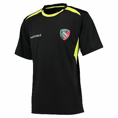 KooGa Mens Gents Rugby Leicester Tigers Gym T Shirt Tee Top - Black/Fluro Green