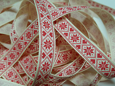 Christmas Grosgrain Ribbon Bertie's Bows Nordic Flake  on Cream 16mm