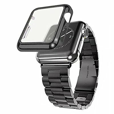 38mm Plated Gloss Case & Stainless Band Accessory Strap Apple Watch iWatch Black