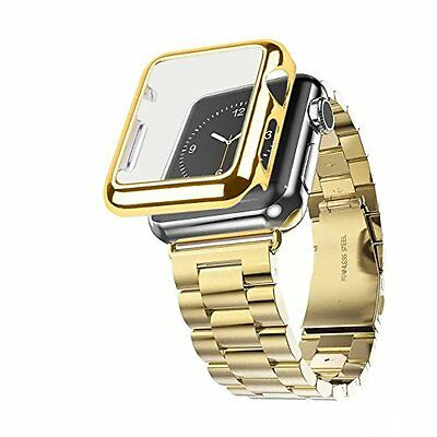 38mm Plated Gloss Case & Stainless Band Accessory Strap Apple Watch iWatch Gold