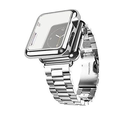 38mm Plated Gloss Case & Stainless Band Accessory Strap Apple Watch Sport Silver