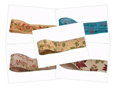 Hessian Christmas Ribbon Wired 5 Designs 60mm Width Luxury Club Green Collection