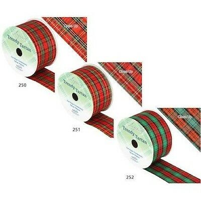 Christmas Ribbon Wired Width 63mm Festive Tartans