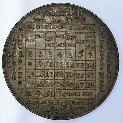 England - 1779 French Language calendar medal in name of Louis XVI rare