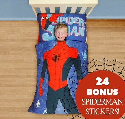 SPIDERMAN TODDLER BEDDING STICKER SET Marvel Comics Comforter Sheets Wall Decals