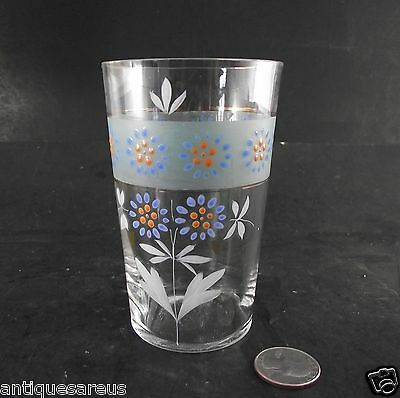 Victorian  Hand Enameled Tumbler With Flowers  #2