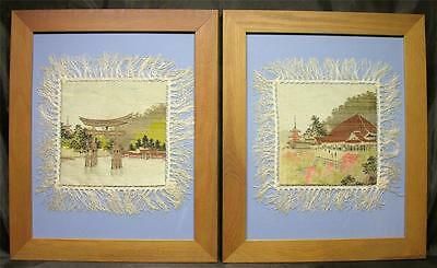 Antique Japanese Silk Embroidery Pictures, C.1920